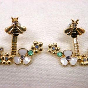 Jewelry - Gold-tone Bee & Flowers Earrings